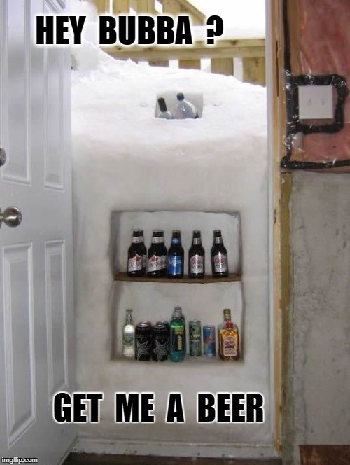 HEY  BUBBA  ? GET  ME  A  BEER | image tagged in buffalo snow door | made w/ Imgflip meme maker