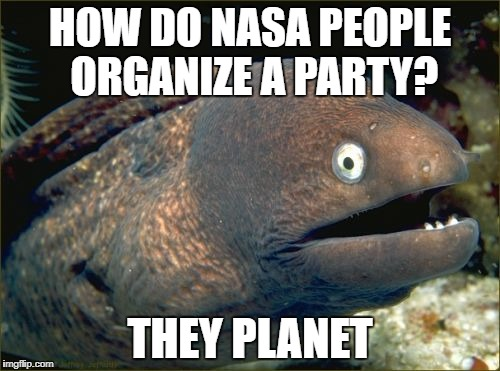 Bad Joke Eel Meme | HOW DO NASA PEOPLE ORGANIZE A PARTY? THEY PLANET | image tagged in memes,bad joke eel | made w/ Imgflip meme maker