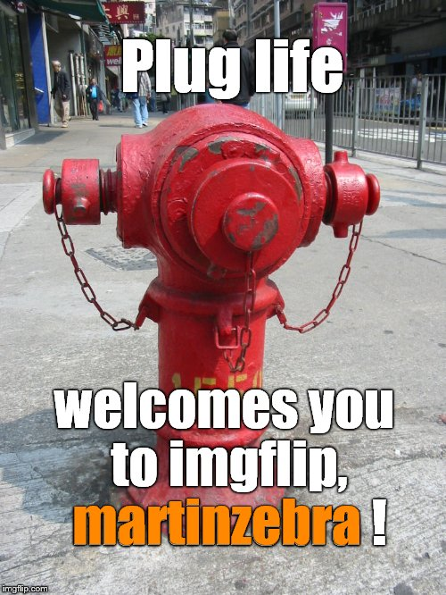 fire hydrant number 1550 | Plug life welcomes you to imgflip, martinzebra ! martinzebra | image tagged in fire hydrant number 1550 | made w/ Imgflip meme maker