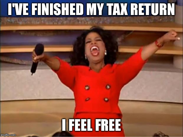 Oprah You Get A Meme | I'VE FINISHED MY TAX RETURN I FEEL FREE | image tagged in memes,oprah you get a | made w/ Imgflip meme maker