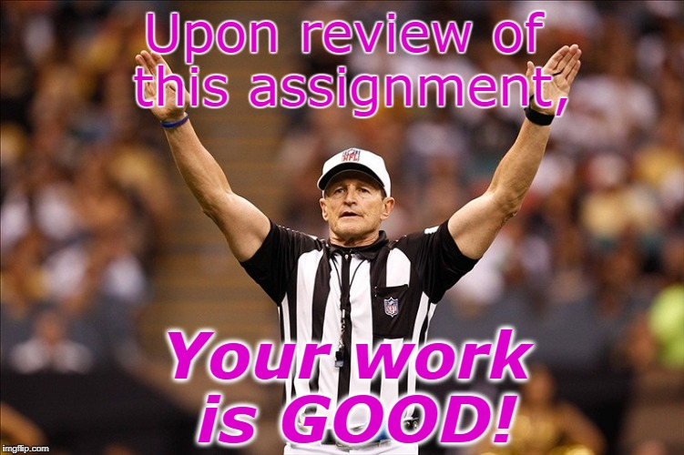 Logical Fallacy Referee NFL #85 | Upon review of this assignment, Your work is GOOD! | image tagged in logical fallacy referee nfl 85 | made w/ Imgflip meme maker