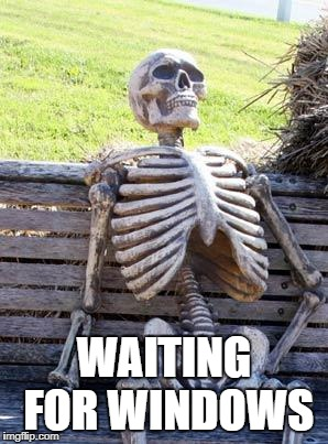 Waiting Skeleton Meme | WAITING FOR WINDOWS | image tagged in memes,waiting skeleton | made w/ Imgflip meme maker