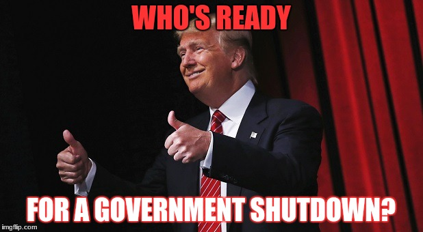 Thanks Trump | WHO'S READY FOR A GOVERNMENT SHUTDOWN? | image tagged in donald trump,donald trump approves,government shutdown | made w/ Imgflip meme maker