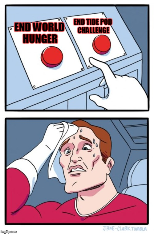 Two Buttons Meme | END WORLD HUNGER END TIDE POD CHALLENGE | image tagged in memes,two buttons | made w/ Imgflip meme maker