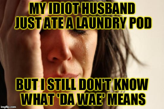 he keeps muttering something about a red bird and Uganda in his delirium | MY IDIOT HUSBAND JUST ATE A LAUNDRY POD BUT I STILL DON'T KNOW WHAT 'DA WAE' MEANS | image tagged in memes,first world problems,da wae,tide pods | made w/ Imgflip meme maker