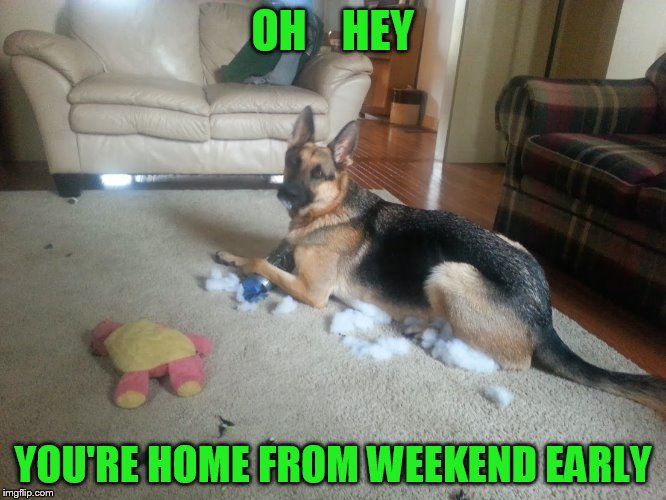 OH    HEY YOU'RE HOME FROM WEEKEND EARLY | made w/ Imgflip meme maker