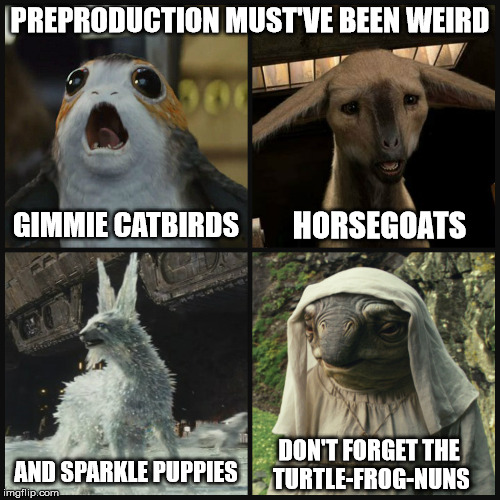 1st we do the drugs...THEN we make the movie! | PREPRODUCTION MUST'VE BEEN WEIRD GIMMIE CATBIRDS HORSEGOATS AND SPARKLE PUPPIES DON'T FORGET THE TURTLE-FROG-NUNS | image tagged in star wars the last jedi,porg,fathier,crystal fox,caretaker,so many drugs | made w/ Imgflip meme maker