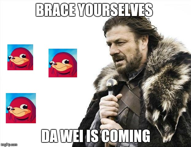 Brace Yourselves X is Coming Meme | BRACE YOURSELVES DA WEI IS COMING | image tagged in memes,brace yourselves x is coming | made w/ Imgflip meme maker