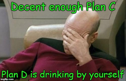 Captain Picard Facepalm Meme | Decent enough Plan C Plan D is drinking by yourself | image tagged in memes,captain picard facepalm | made w/ Imgflip meme maker