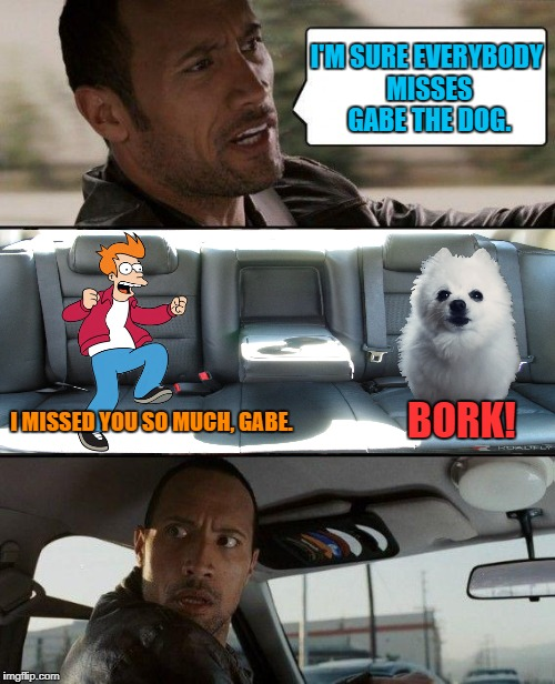 Fry misses Gabe the dog. | I'M SURE EVERYBODY MISSES GABE THE DOG. BORK! I MISSED YOU SO MUCH, GABE. | image tagged in memes,the rock driving,fry,futurama fry,gabe the dog | made w/ Imgflip meme maker