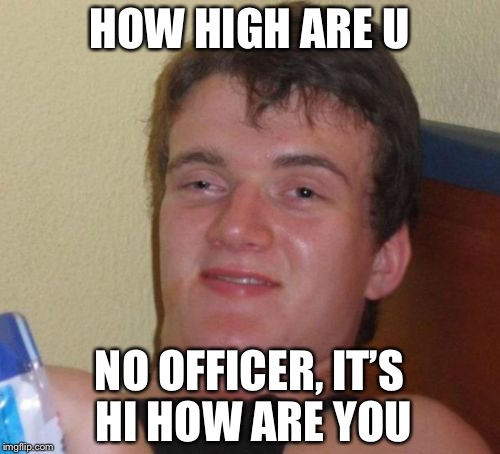 10 Guy Meme | HOW HIGH ARE U NO OFFICER, IT'S HI HOW ARE YOU | image tagged in memes,10 guy | made w/ Imgflip meme maker