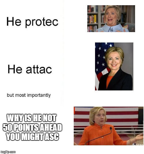 She protec | WHY IS HE NOT 50 POINTS AHEAD YOU MIGHT ASC | image tagged in he protec | made w/ Imgflip meme maker