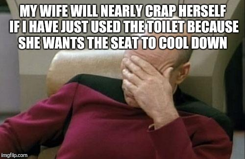 Captain Picard Facepalm Meme | MY WIFE WILL NEARLY CRAP HERSELF IF I HAVE JUST USED THE TOILET BECAUSE SHE WANTS THE SEAT TO COOL DOWN | image tagged in memes,captain picard facepalm | made w/ Imgflip meme maker