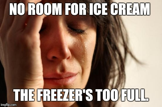 First World Problems Meme | NO ROOM FOR ICE CREAM THE FREEZER'S TOO FULL. | image tagged in memes,first world problems | made w/ Imgflip meme maker