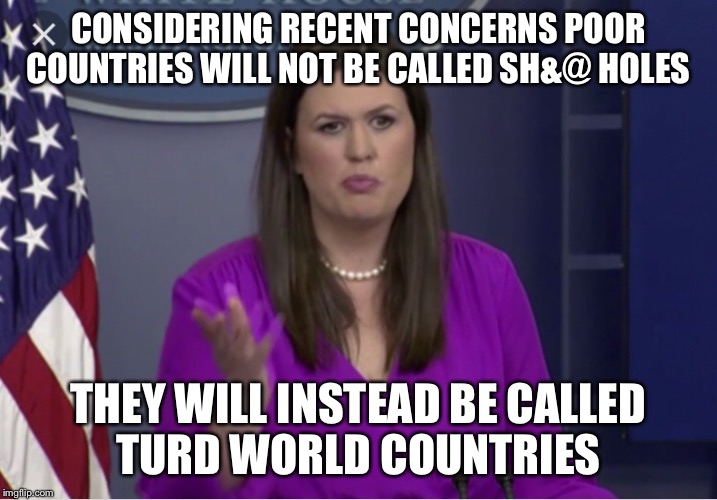 A kinder gentler Donald |  CONSIDERING RECENT CONCERNS POOR COUNTRIES WILL NOT BE CALLED SH&@ HOLES; THEY WILL INSTEAD BE CALLED TURD WORLD COUNTRIES | image tagged in donald trump,shithole,president trump,sarah huckabee sanders | made w/ Imgflip meme maker