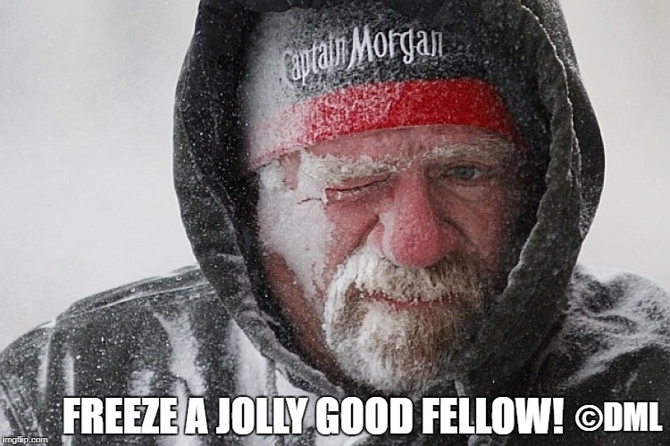 FREEZE A JOLLY GOOD FELLOW | ©DML FREEZE A JOLLY GOOD FELLOW! | image tagged in captain morganjolly good fellow,bad pun | made w/ Imgflip meme maker