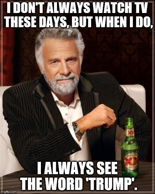 The Most Interesting Man In The World Meme | I DON'T ALWAYS WATCH TV THESE DAYS, BUT WHEN I DO, I ALWAYS SEE THE WORD 'TRUMP'. | image tagged in memes,the most interesting man in the world | made w/ Imgflip meme maker