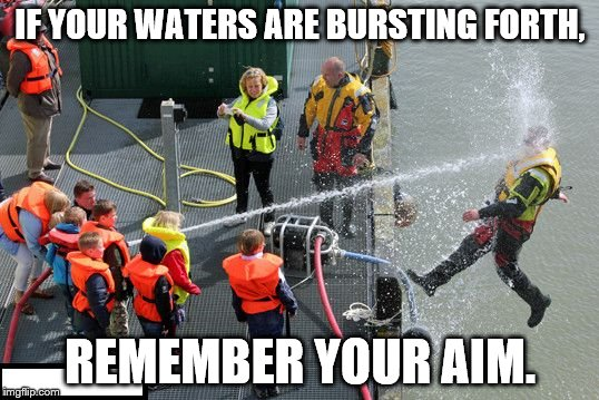 Kids_Playing_With_Water | IF YOUR WATERS ARE BURSTING FORTH, REMEMBER YOUR AIM. | image tagged in kids_playing_with_water | made w/ Imgflip meme maker