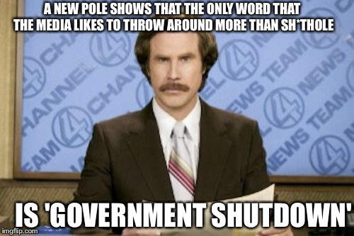 This year in the news | A NEW POLE SHOWS THAT THE ONLY WORD THAT THE MEDIA LIKES TO THROW AROUND MORE THAN SH*THOLE IS 'GOVERNMENT SHUTDOWN' | image tagged in memes,ron burgundy,biased media | made w/ Imgflip meme maker