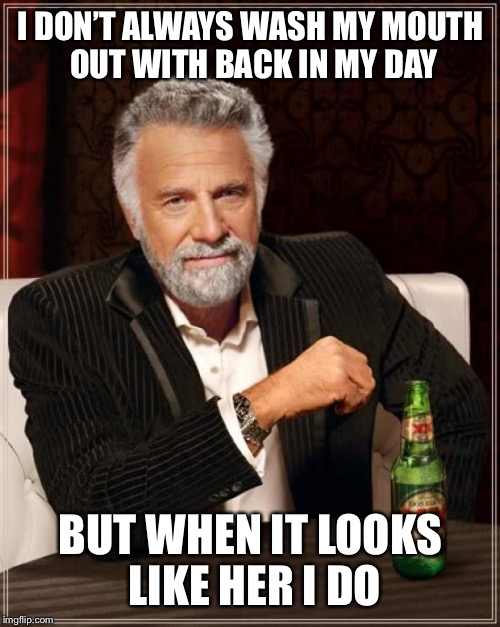 The Most Interesting Man In The World Meme | I DON'T ALWAYS WASH MY MOUTH OUT WITH BACK IN MY DAY BUT WHEN IT LOOKS LIKE HER I DO | image tagged in memes,the most interesting man in the world | made w/ Imgflip meme maker
