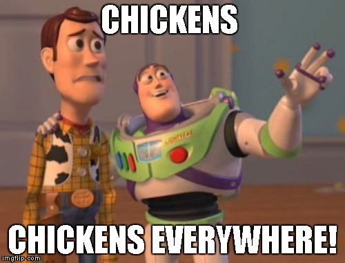 X, X Everywhere Meme | CHICKENS CHICKENS EVERYWHERE! | image tagged in memes,x,x everywhere,x x everywhere | made w/ Imgflip meme maker