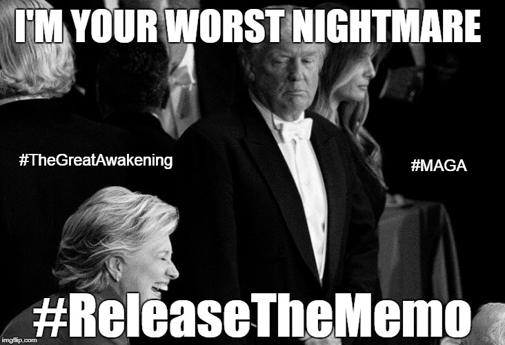 Trump stares down hillary | I'M YOUR WORST NIGHTMARE #ReleaseTheMemo #TheGreatAwakening #MAGA | image tagged in donald trump,hillary clinton,prison | made w/ Imgflip meme maker