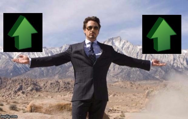 Ironman upvote | O | image tagged in ironman upvote | made w/ Imgflip meme maker