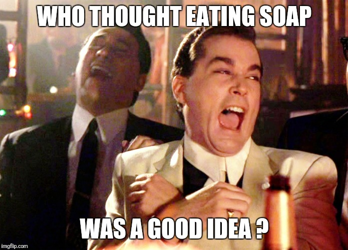 Good Fellas Hilarious Meme | WHO THOUGHT EATING SOAP WAS A GOOD IDEA ? | image tagged in memes,good fellas hilarious | made w/ Imgflip meme maker