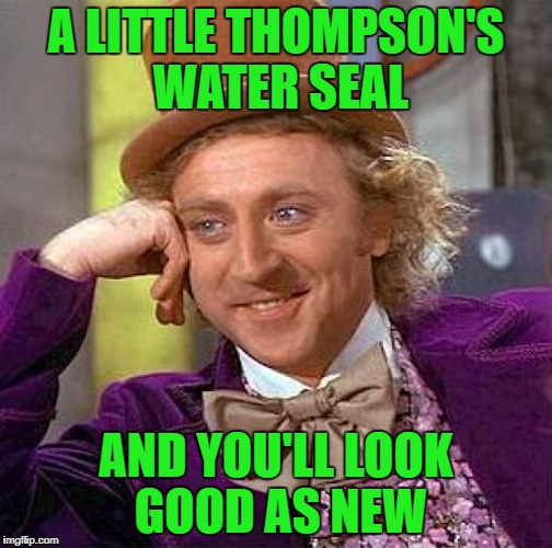 Creepy Condescending Wonka Meme | A LITTLE THOMPSON'S WATER SEAL AND YOU'LL LOOK GOOD AS NEW | image tagged in memes,creepy condescending wonka | made w/ Imgflip meme maker