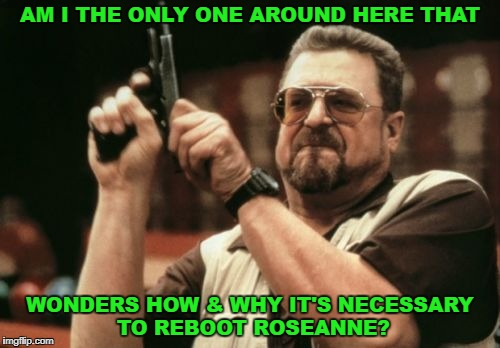 Sick of reboots, sick of her. | AM I THE ONLY ONE AROUND HERE THAT WONDERS HOW & WHY IT'S NECESSARY TO REBOOT ROSEANNE? | image tagged in memes,am i the only one around here,roseanne,john goodman,reboot | made w/ Imgflip meme maker