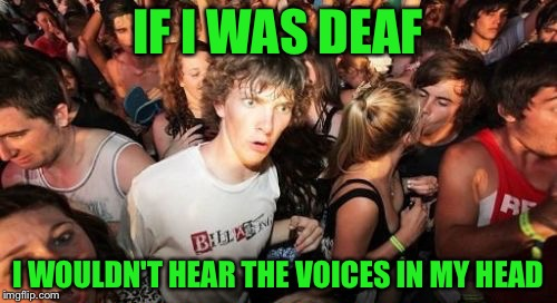 Sudden Clarity Clarence Meme | IF I WAS DEAF I WOULDN'T HEAR THE VOICES IN MY HEAD | image tagged in memes,sudden clarity clarence | made w/ Imgflip meme maker