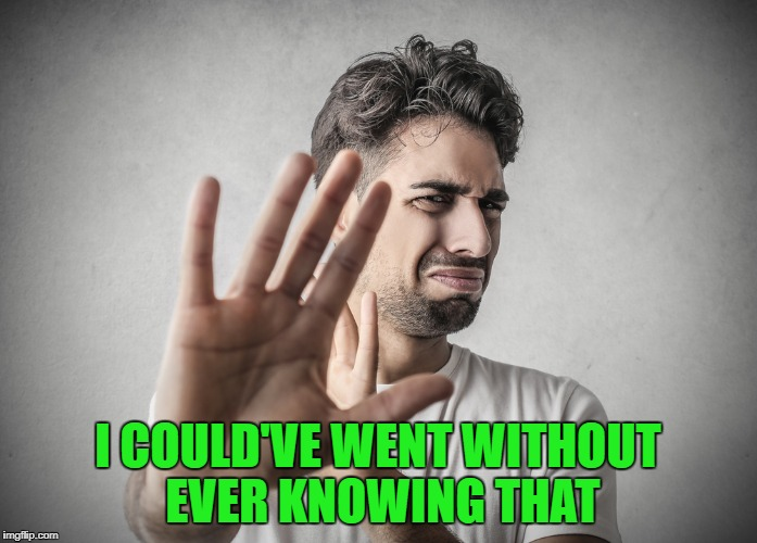 I COULD'VE WENT WITHOUT EVER KNOWING THAT | made w/ Imgflip meme maker