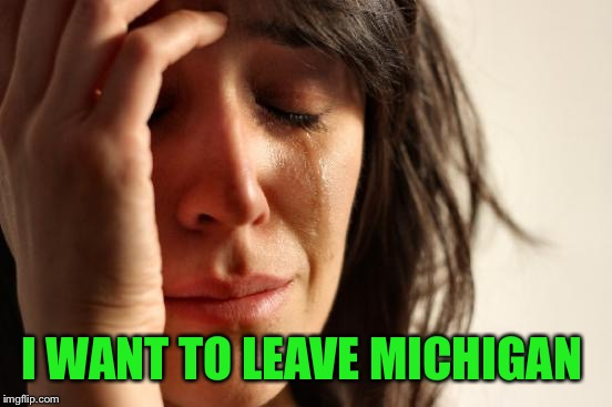 First World Problems Meme | I WANT TO LEAVE MICHIGAN | image tagged in memes,first world problems | made w/ Imgflip meme maker