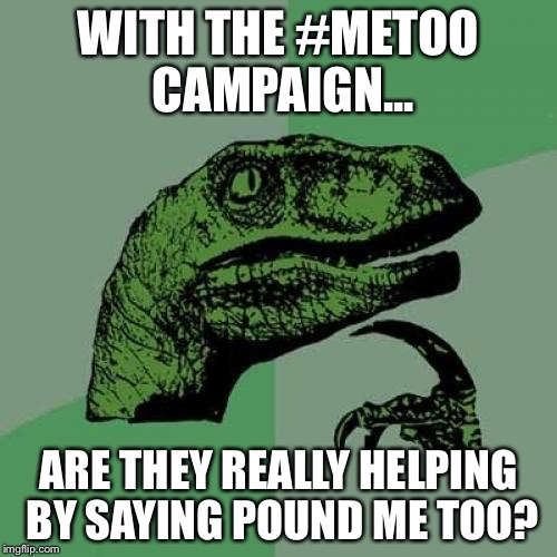 Philosoraptor Meme | WITH THE #METOO CAMPAIGN... ARE THEY REALLY HELPING BY SAYING POUND ME TOO? | image tagged in memes,philosoraptor | made w/ Imgflip meme maker