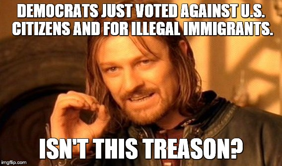 democrats and illegal immigrants | DEMOCRATS JUST VOTED AGAINST U.S. CITIZENS AND FOR ILLEGAL IMMIGRANTS. ISN'T THIS TREASON? | image tagged in daca,illegal immigrant | made w/ Imgflip meme maker