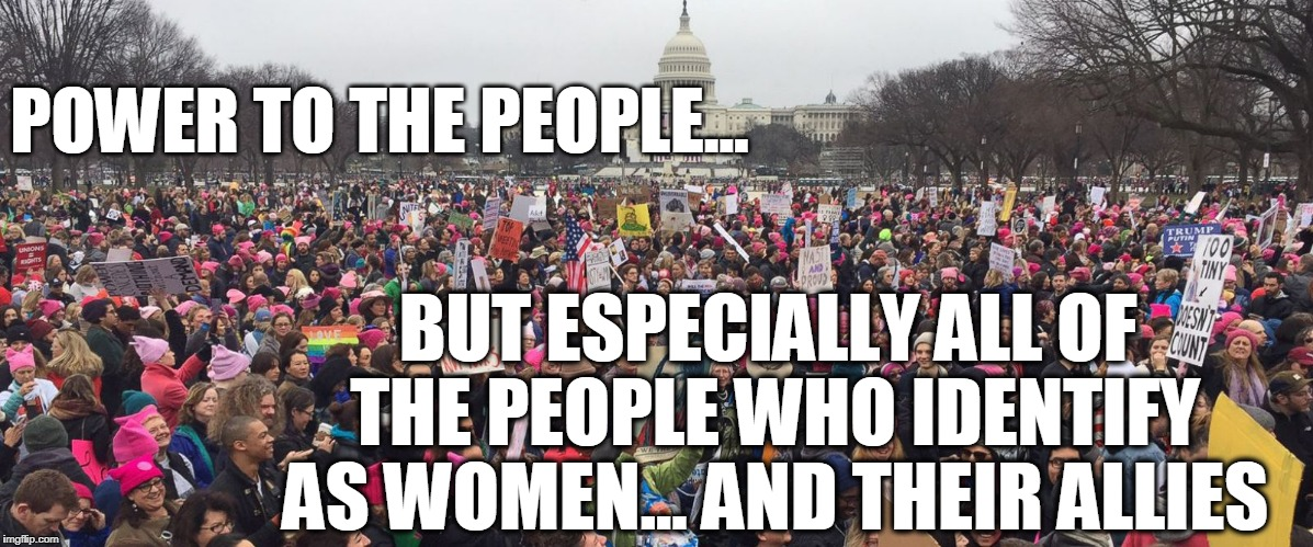 ALL Women's March | POWER TO THE PEOPLE... BUT ESPECIALLY ALL OF THE PEOPLE WHO IDENTIFY AS WOMEN... AND THEIR ALLIES | image tagged in women's march,why we march,womens right,lgbtq,woc,human rights | made w/ Imgflip meme maker
