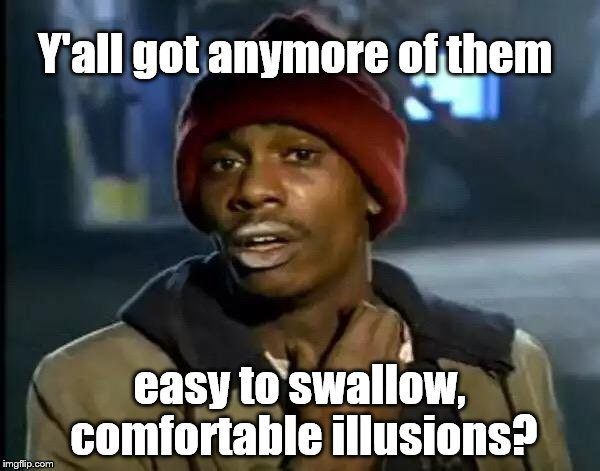 Y'all Got Any More Of That Meme | Y'all got anymore of them easy to swallow, comfortable illusions? | image tagged in memes,y'all got any more of that | made w/ Imgflip meme maker