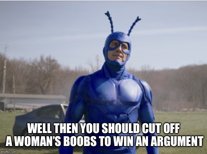 WELL THEN YOU SHOULD CUT OFF A WOMAN'S BOOBS TO WIN AN ARGUMENT | made w/ Imgflip meme maker