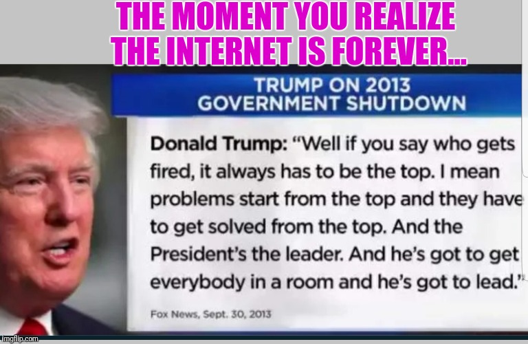 The Donald isn't always wrong.... | THE MOMENT YOU REALIZE THE INTERNET IS FOREVER... | image tagged in losertrump,memes,conservative hypocrisy,lying,donald trump the clown | made w/ Imgflip meme maker