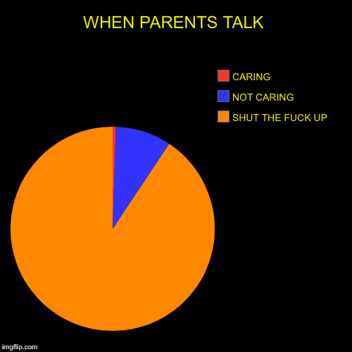 WHEN PARENTS TALK | SHUT THE F**K UP, NOT CARING, CARING | image tagged in funny,pie charts | made w/ Imgflip pie chart maker