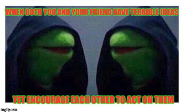 WHEN BOTH YOU AND YOUR FRIEND HAVE TERRIBLE IDEAS YET ENCOURAGE EACH OTHER TO ACT ON THEM | image tagged in double evil kermit | made w/ Imgflip meme maker