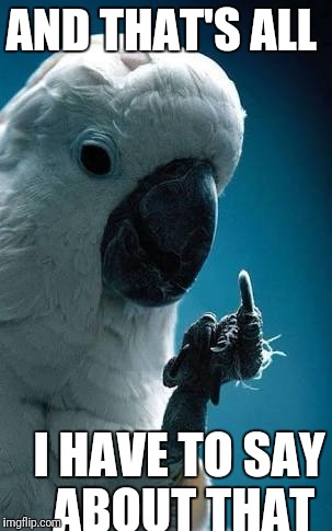 Flippin' the bird | AND THAT'S ALL I HAVE TO SAY ABOUT THAT | image tagged in funny cockatoo,bird flipping the bird,and that's all i have to say about that | made w/ Imgflip meme maker