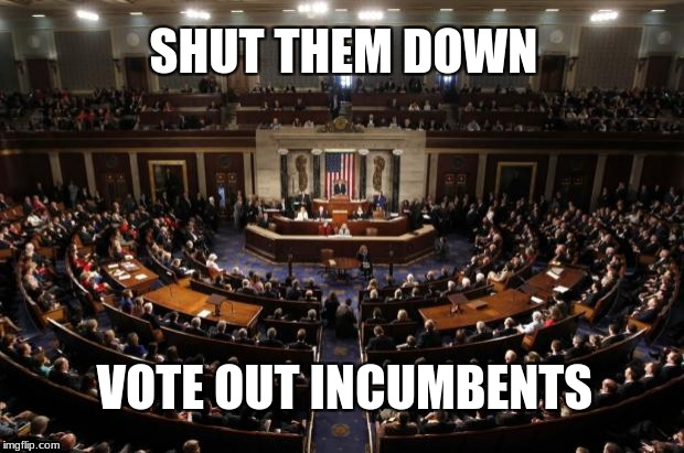 congress | SHUT THEM DOWN VOTE OUT INCUMBENTS | image tagged in congress | made w/ Imgflip meme maker