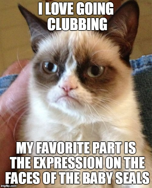Grumpy Cat is so tough, he can beat up a team of Seals with a wooden stick. | I LOVE GOING CLUBBING MY FAVORITE PART IS THE EXPRESSION ON THE FACES OF THE BABY SEALS | image tagged in memes,grumpy cat,clubbing,seal,seal team six,that awkward moment | made w/ Imgflip meme maker
