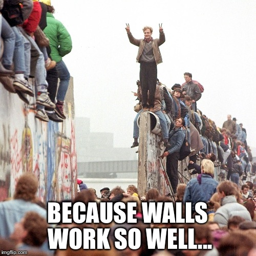 The Wall | BECAUSE WALLS WORK SO WELL... | image tagged in berlin wall fallen | made w/ Imgflip meme maker