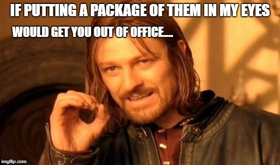 One Does Not Simply Meme | IF PUTTING A PACKAGE OF THEM IN MY EYES WOULD GET YOU OUT OF OFFICE.... | image tagged in memes,one does not simply | made w/ Imgflip meme maker