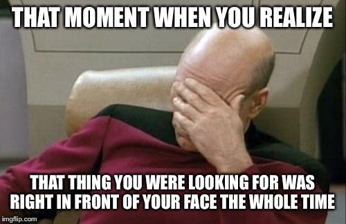 Captain Picard Facepalm Meme | THAT MOMENT WHEN YOU REALIZE THAT THING YOU WERE LOOKING FOR WAS RIGHT IN FRONT OF YOUR FACE THE WHOLE TIME | image tagged in memes,captain picard facepalm | made w/ Imgflip meme maker