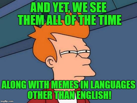 Futurama Fry Meme | AND YET, WE SEE THEM ALL OF THE TIME ALONG WITH MEMES IN LANGUAGES OTHER THAN ENGLISH! | image tagged in memes,futurama fry | made w/ Imgflip meme maker