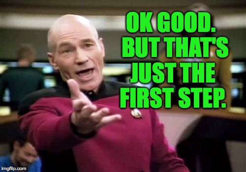 Picard Wtf Meme | OK GOOD.  BUT THAT'S JUST THE FIRST STEP. | image tagged in memes,picard wtf | made w/ Imgflip meme maker
