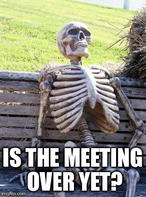 Waiting Skeleton Meme | IS THE MEETING OVER YET? | image tagged in memes,waiting skeleton | made w/ Imgflip meme maker